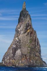 Ball's Pyramid (NettyA) Tags: lordhoweforclimate 2016 australia day7 lhi lordhoweisland nsw unescoworldheritage sea water ocean volcanic rock janetteasche clouds ballspyramid seastack basalticlava basalt geology