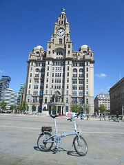 Liverpool Tour: The Liver Building (Mr-NHW) Tags: building bicycle liverpool river cycling tour waterfront royal cycle liver mersey folding dahon foldercycle