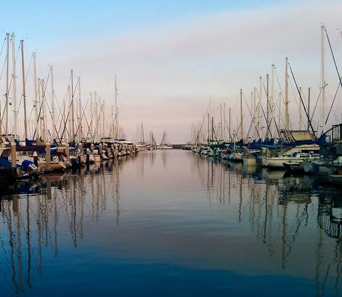 california reflection santabarbara sailboat marina harbor boat sailing pacific yacht mast masts