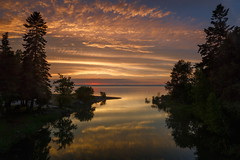 Last Hurrah (Bert CR) Tags: sunset sky silhouette clouds reflections river colorful darkness georgianbay leith stillness hurrah colorfulsky lasthurrah