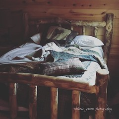 the sweetest dreams... (m i c h e l e j e n s e n [photography]) Tags: bed sleep cabin rustic wood quilt bedding cozy morning