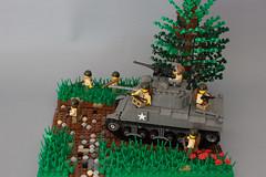 Sherman advance, France 1944 (kr1minal) Tags: world 2 soldier toys war tank lego nazi wwii diorama sherman panzer wehrmacht brickmania