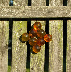 70s mod acrylic grape outdoor upcycled ornament (littlewaif) Tags: 70s mod acrylic craft outdoor projects art flowers crosses glass glue kitsch reuse grapes lucite
