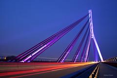 Niederrheinbrcke (kugluz) Tags: bridge light cars by drive licht exposure driving illumination lighttrails brcke belichtung beleuchtung wesel kreis niederrhein wahrzeichen landmarke niederrheinbrcke