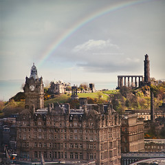 Life is like a rainbow. You need both the sun and the rain to make its colors appear. (www.juliadavilalampe.com) Tags: light sun rain regenboog buildings square scotland rainbow edinburgh unitedkingdom escocia squareformat getty caltonhill regenbogen gettyimages reino unido regnbue grossbritannien   regnbge  scotlanda tuarceatha