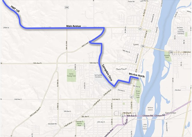 RAGBRAI route into Clinton