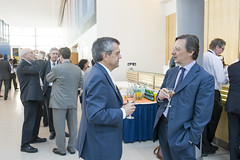 José Viegas talks with Alain Flausch at the Cocktail Reception