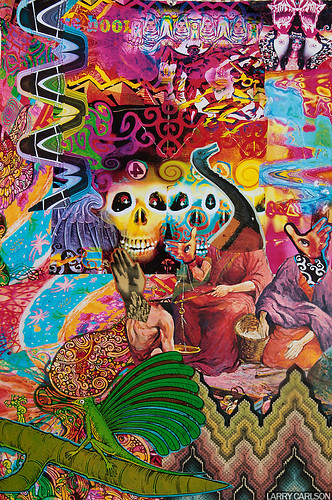 LARRY CARLSON, Red Devil Carnival, collage and oil paint marker on paper, 14x16in., 2012.