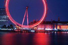 London Eye (al-absi) Tags: uk blue red sea sky building london eye water night canon river rebel united kingdom