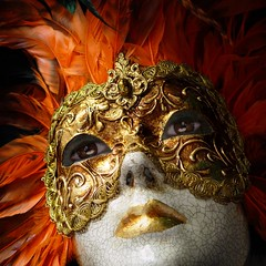 Venetian ladies in their games of seduction (Bn) Tags: carnival venice ladies light red party portrait italy woman cold eye art texture love halloween girl beautiful face closeup mystery lady ball paper dance eyes topf50 italia mask h