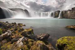 Waterfall of the Gods I (laverrue) Tags: longexposure cloud water stone roc waterfall iceland paradise dream silk ridge akureyri godafoss mvatn goafoss riverskjlfandafljt
