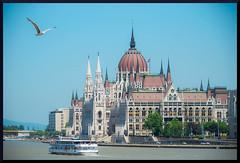 Voyageurs (Alain De Bouvre (www.ao-photography.be)) Tags: architecture montagne europe budapest capitale parlement bateau paysage oiseau danube pest drapeau fleuve dme hongrie batment leparlement