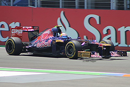 Jean-Eric Vergne in his Toro Rosso F1 car during the 2012 European Grand Prix in Valencia