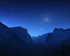Yosemite Valley at First Light (snooked123) Tags: longexposure blue moon night sunrise stars landscape nikon venus nightshot ngc yosemite halfdome jupiter pleiades firstlight sentineldome tunnelview d700 28mm18g
