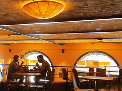 Dinner for Two (Parthurpics) Tags: barcelona people yellow canon restaurant spain montserrat dining