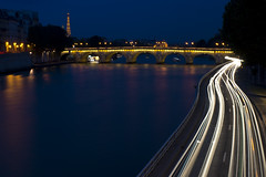 Sane Night (evaxebra) Tags: longexposure bridge vacation paris france tower cars seine night river dark evening eiffel 2012
