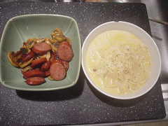 Fried Sausage and Boxed Pasta (mooshee85) Tags: food mushroom cheese farmhouse dinner lunch sausage pasta meal alfredo noodles soy boxed fried parmesan stroganoff combo worchestershire