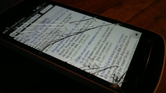 Cracked phone display