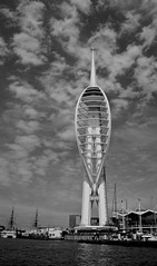 Spinnaker Tower (Sarah Marston) Tags: sea sky blackandwhite water clouds boats waterfront harbour sony january hampshire portsmouth spinnakertower alpha touristattraction 2012 gunwharfquays a390