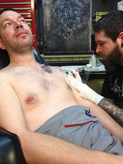 Finishing My Ink (rbatina) Tags: ohio man guy art muscles shop tattoo flesh ink studio see artist skin decorative jimmy august athens dude bones oh torn 24 through bloody damaged wound 24th exposed 2012 seethru thru tendons injections rubbertoe