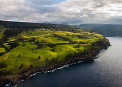 Hmkua Coast (mike dillon) Tags: cliff lighthouse green landscape hawaii flight aerial helicopter valley bigisland waipio hamakua waimanu hmkuacoast kukuihaele