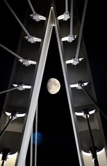 Moon viewed through the Mary Avenue Bridge (JohnCramerPhotography) Tags: california moon cupertino wink neilarmstrong seaoftranquility theeaglehaslanded maryavenuebridge