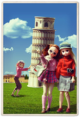 Tourists (Hurry Up Miss Jane) Tags: tower cheese japanese soleil doll tourists pisa leaning cheesy licca dulce luceia