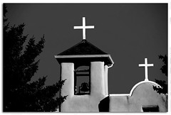 St Francis de Assi Mission (micky mb) Tags: blackandwhite newmexico church crosses nm stucco ranchosdetaos stfrancisdeassimission