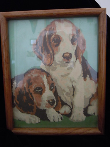 Vintage Paint by Number puppies