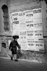 Jerusalem (~Vibeke~) Tags: boy blackandwhite canon walking israel jerusalem jewish jewishquarter jewishboy canon7d