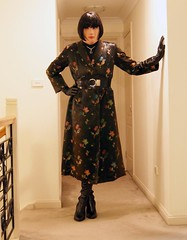 Oriental Inspired (3) (Furre Ausse) Tags: black leather asian belt long boots coat chinese gloves oriental satin brocade