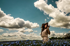Magic place (J'AIME...) Tags: flowers blue wild portrait woman girl beautiful beauty clouds landscape model nikon champs fields lin flax
