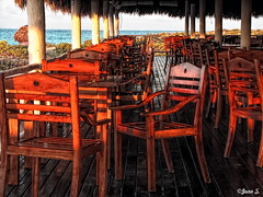 ... (Jean S..) Tags: morning sea sun water restaurant chairs outdoor sunny