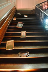 Sliding down the stairs (zawtowers) Tags: old house stairs silver hall tea anniversary yorkshire north property down celebration national staircase trust tray georgian years 300 sliding manor improvised sledge beningbrough 1716