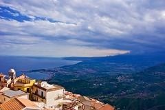 Taormina panorama from Castelmola (somabiswas) Tags: travel sea italy panorama mountains mediterranean sicily taormina castelmola