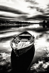 Cast adrift (Usstan) Tags: old sky blackandwhite bw lake water monochrome norway clouds lens landscape ir evening boat norge spring nikon shadows seasons outdoor no sigma calm infrared d750 akershus locations 2470mm enebakk ytreenebakk