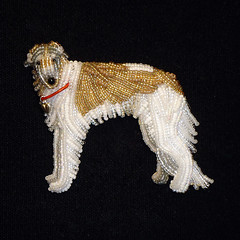 Custom Beaded Borzoi Dog Pin or Brooch (The Lone Beader) Tags: pets dogs shopping beads handmade gifts etsy russian beading borzoi beadwork seedbeads beadembroidery dogjewelry russianwolfhound beadedanimal amazonhandmade