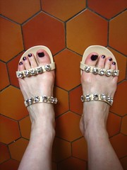 painted (Ladybadtiming) Tags: summer feet fashion beige shoes skin sandals painted nails tiles girlie andr rhinestones shoefreak