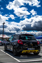 Cloudy Clio (kdymkowski) Tags: city blue sky cloud white black colors car sport yellow clouds speed lights back nikon cloudy parking lot clio renault vehicle tamron rs 2875 d3100
