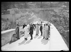 On the top of Burrinjuck Dam, Visit of State Governors to Burrinjuck Dam, Burrinjuck NSW (State Records NSW) Tags: blackandwhite archives newsouthwales staterecordsnsw