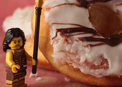 Fighting off the Donuts (catherine4077) Tags: dessert donuts legos sweets minifigures minilegosfigurines