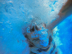 Splashdown! (milfodd) Tags: blue colour andy underwater july bubbles swimmingpool 2016 gopro