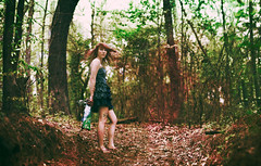 being brought into the woods. (Casey David) Tags: she wood blue trees red portrait woman green girl tattoo forest ruffles leaf vines woods map path vine octopus leafs flyinghair octopustattoo bluejeandress
