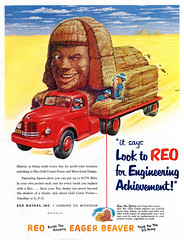 The Sphinx and the REO, Makers of the Eager Beaver (paul.malon) Tags: truck egypt 1950s 1952 reo vintageads thesphinx scannedandretouchedbypaulmalon