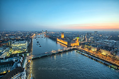 Bird's Eye View (AbhijeetVardhan) Tags: city bridge london eye westminster thames river evening twilight nikon dusk parliament palace iso handheld sns hdr d90