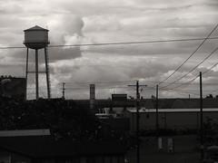 From the train window (Kurlylox1) Tags: sunset vancouver clouds train washington industrial watertower wires watertank amtrakcoaststarlight