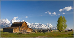 Mormon's Row landscape (whizvish) Tags: snow mountains cabin montana meadow wyoming grandteton jacksonhole mormonsrow