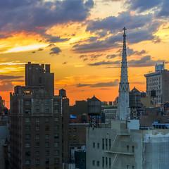 Grace Church Sunset (Michael.Lee.Pics.NYC) Tags: sunset newyork church grace spire hdr photomatix