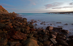 Lone Pine sunset (Schlingshot Photography) Tags: ocean longexposure sunset beach landscape rocks waves bluesky southernocean swell tonykemp schlingshot