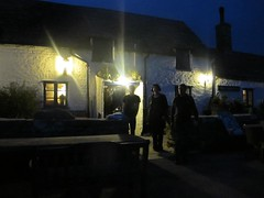 leaving the pub (squeezemonkey) Tags: door windows building night dark leaving pub dorset swanage squarecompass